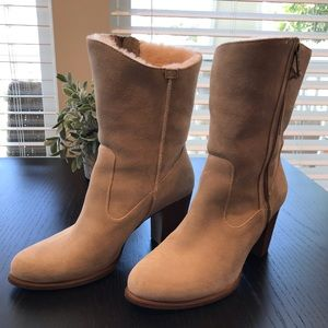 NWOT UGG Calf High Heeled Boot w/ Sherpa Lining
